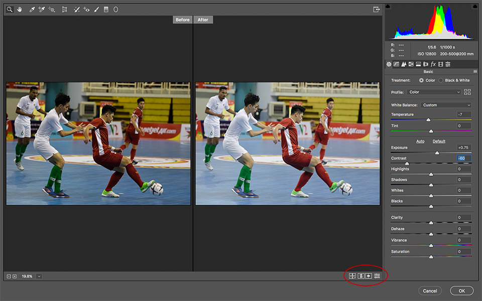 Bật tắt preview trong Camera Raw